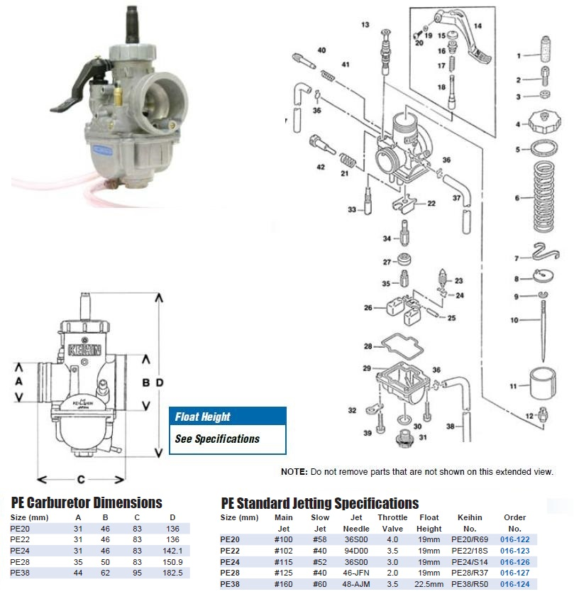PE series carburetor exploded view parts